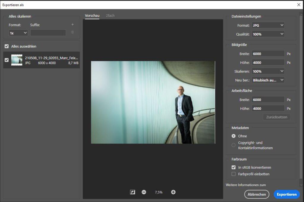 Photoshop Exportieren als JPG