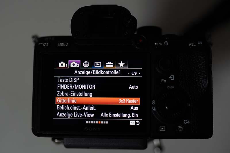 Sony A7iii Raster Gitter aktivieren